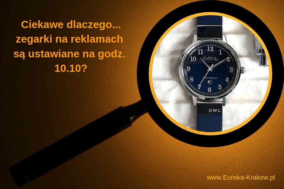 układ wskazówek zegara w reklamie zegarków